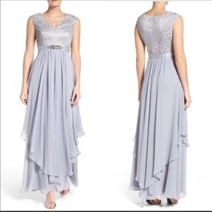 Eliza J Grey Blush Lace Embellished Tier Gown  6
